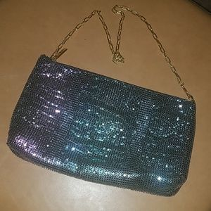 "Iridescent ""gasoline"" chain mesh crossbody"